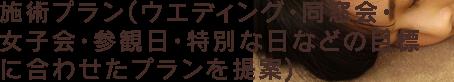 施術プラン(ウエディング・同窓会・女子会・参観日・特別な日などの目標に合わせたプランを提案)